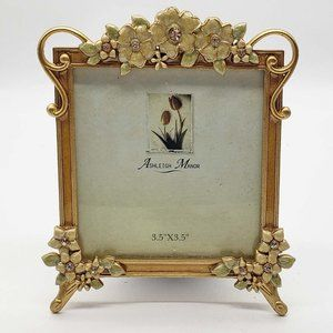 """Ashleigh Manor Enameled Gold jeweled floral Footed Picture Frame for 3.5"""" X 3.5"""""""